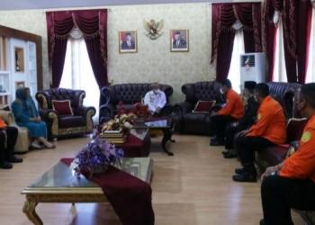 Bupati Gorut Indra Yasin menerima kunjungan kerja Basarnas Provinsi Gorontalo, Kamis (29/4/2021).