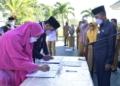 Pelantikan pejabat struktural Bapppeda Kota Gorontalo, Selasa (4/5/2021).(f.istinewa)