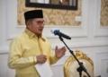 Wali Kota Gorontalo, Marten Taha saat mengurai capaian selama penanganan COVID-19. (f. istimewa)