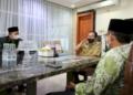 Wali Kota Makassar, Danny Pomanto saat menerima kedatangan PCNU. (Anki/nn)