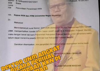 Rektor UNM, Prof Husain Syam menyayangkan penundaan KKN Mahasiswanya di Kabupaten Polman. (f. NN/anq)