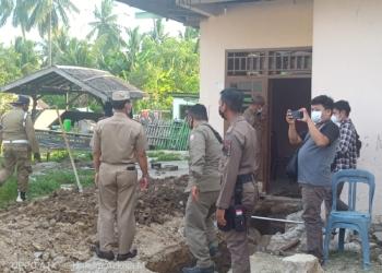 Satpol PP Pohuwato turun ke lokasi yang dikabarkan tengah dibangun fasilitas indomaret.